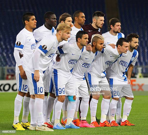 Dnipro Dnipropetrovsk team poses during the UEFA Europa League group G match between SS Lazio and FC Dnipro Dnipropetrovsk at Olimpico Stadium on...