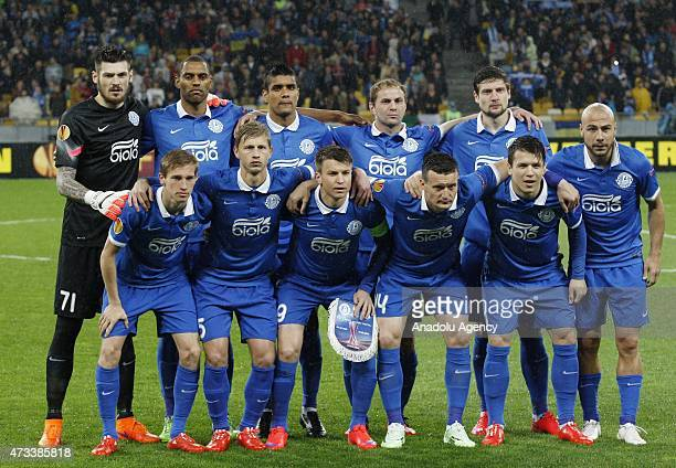 Dnipro players pose before the UEFA Europa League Semi Final second leg match between FC Dnipro Dnipropetrovsk and SSC Napoli on May 14 2015 at the...