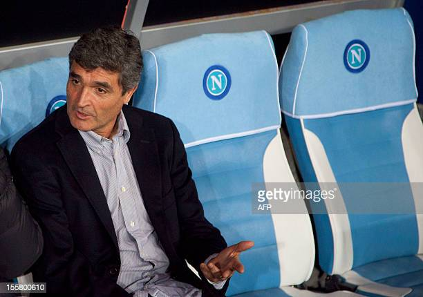 Dnipro's coach Ramos Juande of Spain looks on before the UEFA Europa league Group F football match SSC Napoli vs Dnipro FC at San Paolo Stadium on...