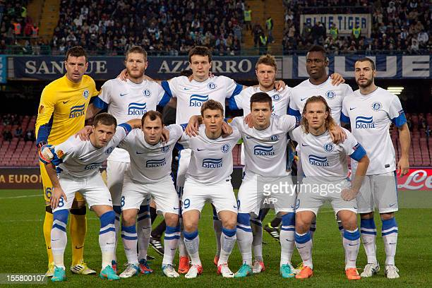 Dnipro's football players pose before the UEFA Europa league Group F football match SSC Napoli vs Dnipro FC in San Paolo Stadium on November 08 2012...