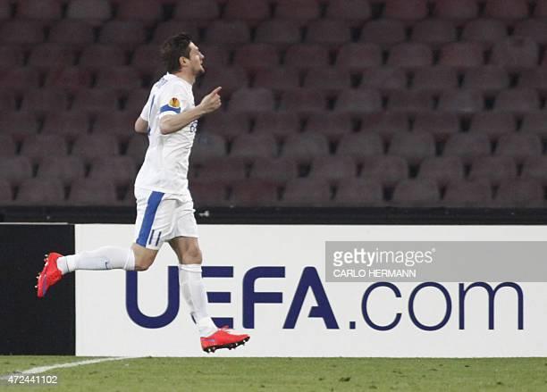 Dnipro's forward from Ukraina Yevhen Seleznyov celebrates after scoring during the UEFA Europa League semi final first leg football match SSC Napoli...