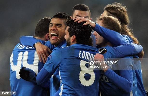 FC Dnipros players celebrate after scoring during the UEFA Europa League Group G football match FC Dnipro vs Rosenborg BK in Dnipropetrovsk on...