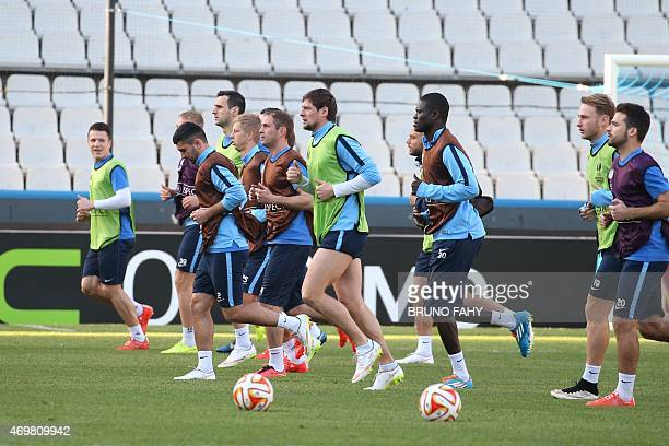 Dnipro's players take part in a training session at the Jan Breydel Stadium in Bruges on April 15 on the eve of the UEFA Europa league quarter-final...