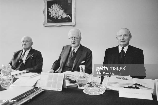 DNotice councilors committees Cyril Radcliffe Manny Shinwell and Selwyn Lloyd at the Cabinet Office Whitehall London UK 14th March 1967