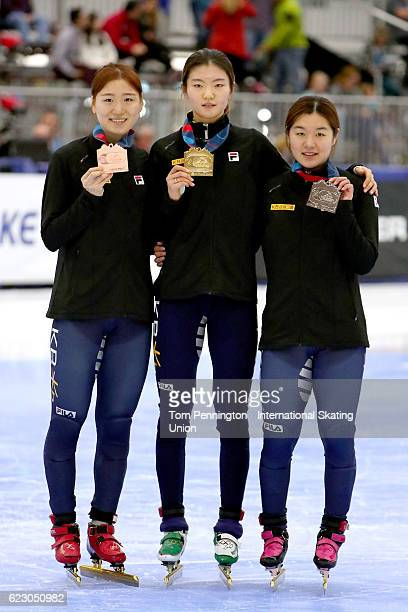 Do Hee Noh of Korea with the bronze Suk Hee Shim of Korea with the gold and Jiyoo Kim of Korea with the silver celebrate after the Ladies 1000 meter...