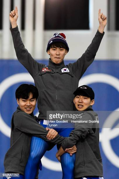 Do Hyung Lee Min Seok Kim and Jaewon Chung of Korea stand on the podium after winning the men's team pursuit during the World Junior Speed Skating...