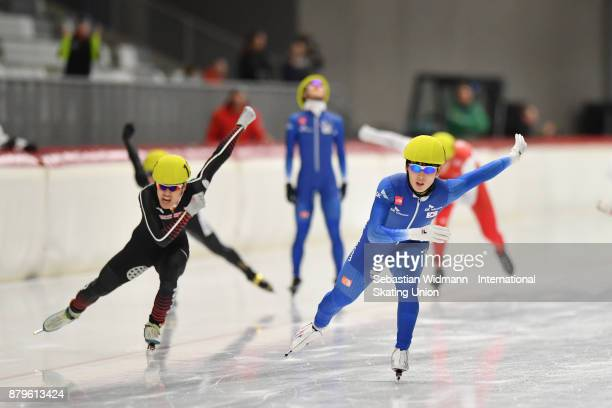 Do Hyung Lee of South Korea performes during the Men mass start at the ISU Junior World Cup Speed Skating at Max Aicher Arena on November 26 2017 in...