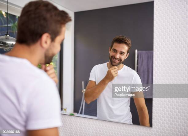 i do look good with a beard though - mirror stock photos and pictures