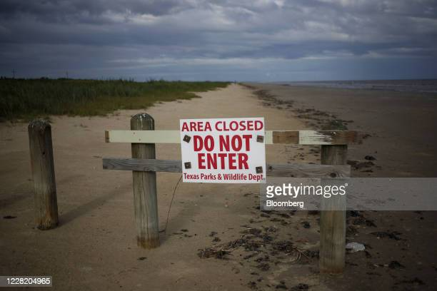 Do Not Enter' sign is displayed on Crystal Beach ahead of Hurricane Laura in Sabine Pass, Texas, U.S., on Tuesday, Aug. 25, 2020. Hurricane Laura is...