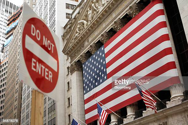A 'Do Not Enter' sign sits outside the New York Stock Exchange prior to the opening bell in New York US on Monday Oct 6 2008 Stocks tumbled around...