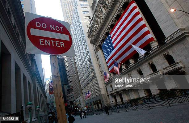 A 'Do Not Enter' sign stands outside the New York Stock Exchange February 23 2009 in New York City Stocks tumbled to their lowest close in 12 years...