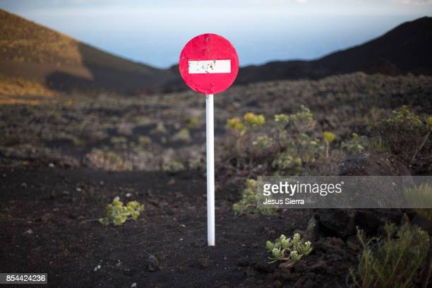Do Not Enter Sign, Teneguia Volcano. la Palma island.