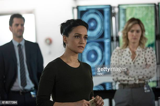 BLINDSPOT 'Do Not Slack the Featherweight Wins' Episode 208 Pictured Aaron Abrams as Matthew Weitz Archie Panjabi as Nas Kamal Ashley Johnson as...