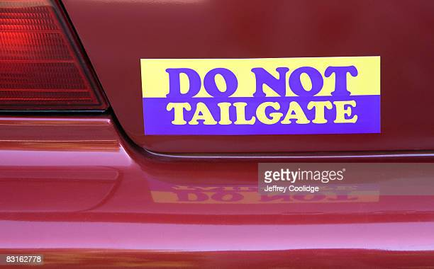 do not tailgate bumper sticker on car - bumper sticker stock photos and pictures