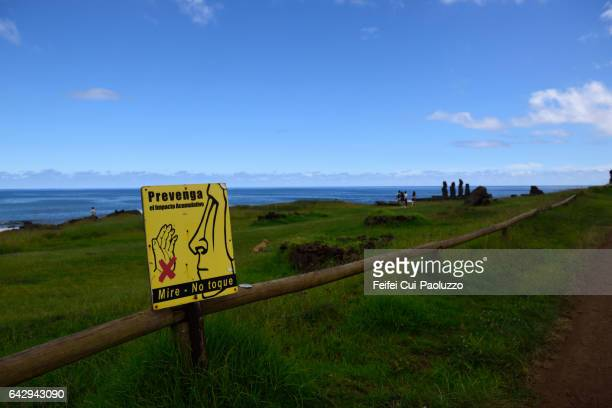 Do not touch sign at Ahu Tahai of Hanga Roa of Eater Island of Chile