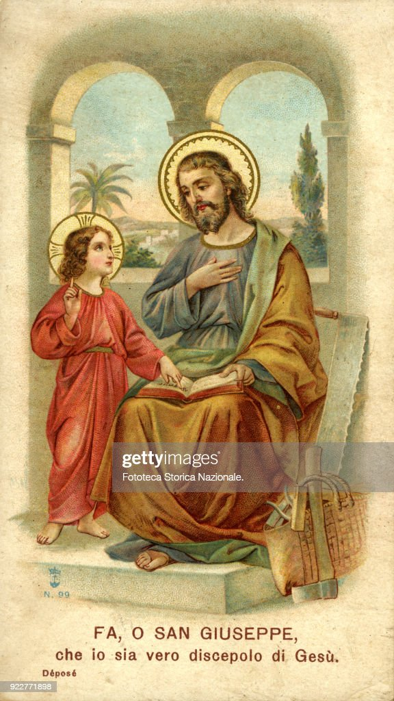 'Do, oh Saint Joseph, that I be a true disciple of Jesus'. Chromolithograph, approx. 1900.