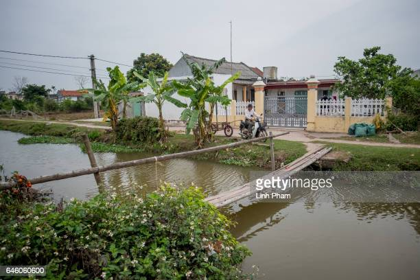 Doan Van Binh brother of Doan Thi Huong drives his motorbikecart in front of to Huong's family home with yellowpainted walls on February 27 2017 in...