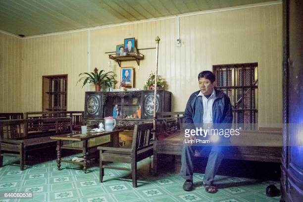 Doan Van Thanh father of Doan Thi Huong takes a rest at Huong's family home after the Sunday service at Phuong Lac church on February 27 2017 in...