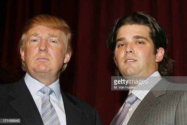 Doanld Trump and Don Trump Jr during Donald J Trump Announces the Launch of Trump Mortgage LLC at Trump Tower in Manhattan New York United States