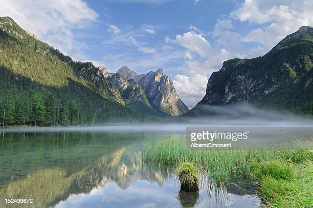 dobbiaco lake (toblach - italy) - toblach stock photos and pictures
