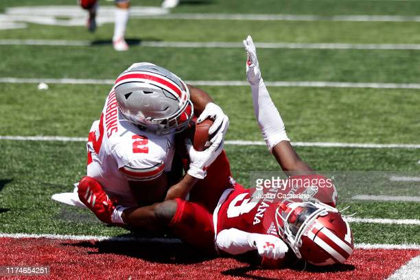 Dobbins of the Ohio State Buckeyes runs for a touchdown during the second quarter in the game against the Indiana Hoosiers at Memorial Stadium on...