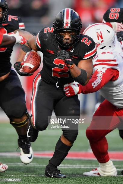 K Dobbins of the Ohio State Buckeyes runs with the ball against the Nebraska Cornhuskers at Ohio Stadium on November 3 2018 in Columbus Ohio