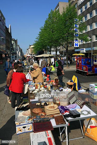 DOberhausen Ruhr area Rhineland North RhineWestphalia NRW junk market on the Marktstrasse stall