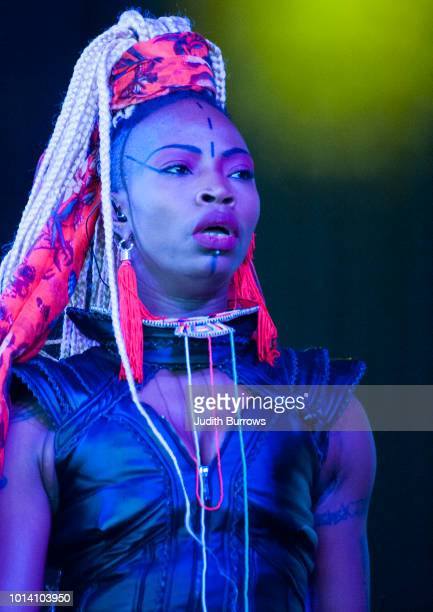 Dobet Gnahore, from Cote d'Ivoire, performs on stage at the Womad Festival 2018 at Charlton Park on July 28, 2018 in Malmesbury, England.