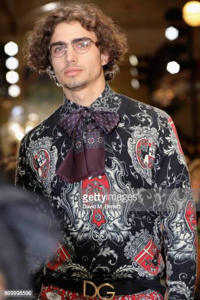 Dobri walks the Dolce Gabbana Italian Christmas catwalk show at Harrods on November 2 2017 in London England