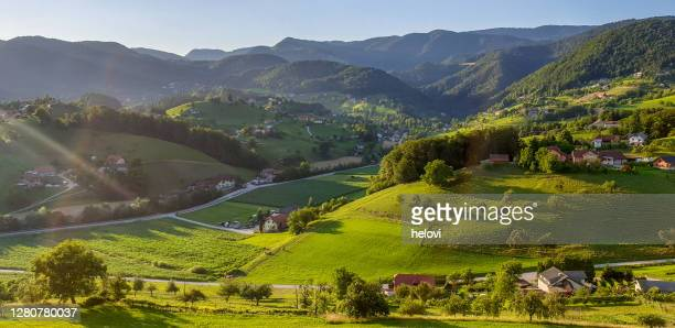 dobrna - spa and health resort, town in green hills - khaki stock pictures, royalty-free photos & images