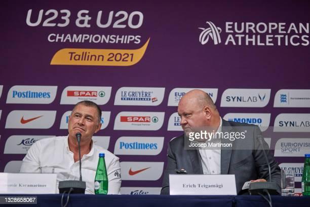 Dobromir Karamarinov and Erich Teigamägi speak to the media during the European Athletics U20 Championships press conference at Radisson Blu Hotel...
