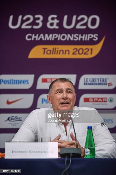 Dobromir Karamarinov speaks to the media during the European Athletics U20 Championships press conference at Radisson Blu Hotel Olümpia Tallinn on...