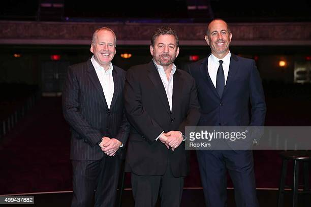 Doc O'Connor James Dolan and Jerry Seinfeld attend a Madison Square Garden Company Special Announcement at The Beacon Theatre on December 1 2015 in...
