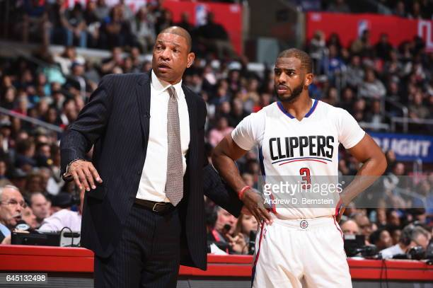 Doc Rivers and Chris Paul of the LA Clippers are seen during the game against the San Antonio Spurs on February 24 2017 at STAPLES Center in Los...
