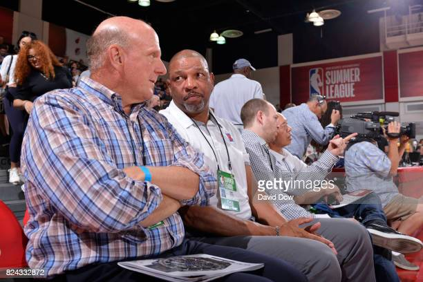 Doc Rivers and Steve Ballmer of the Los Angeles Clippers are seen at the game between the Los Angeles Clippers and the Milwaukee Bucks during the...