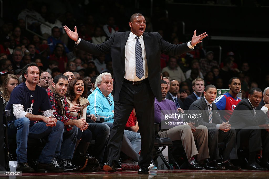 Doc Rivers Head Coach of the Los Angeles Clippers reacts to a call against the Washington Wizards during the game at the Verizon Center on December 14, 2013 in Washington, DC.