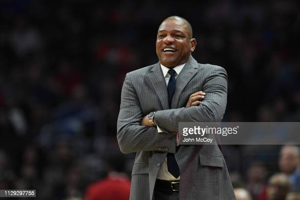 Doc Rivers Head Coach of the Los Angeles Clippers smiles during a game agaisnt the Oklahoma City Thunder at Staples Center on March 8 2019 in Los...