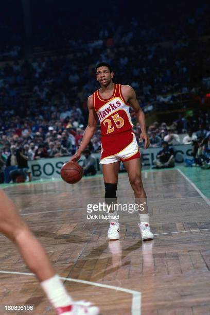 Doc Rivers of the Atlanta Hawks dribbles the ball during a game circa 1986 at the Boston Garden in Boston Massachusetts NOTE TO USER User expressly...