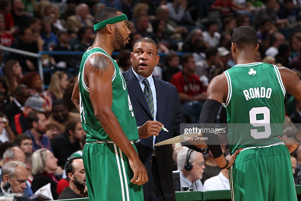 Doc Rivers of the Boston Celtics draws up a play during a time out against the Milwaukee Bucks on November 10, 2012 at the BMO Harris Bradley Center in Milwaukee, Wisconsin.