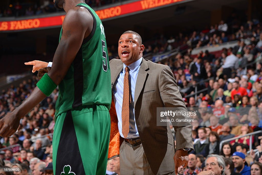 Doc Rivers of the Boston Celtics shows emotion during the game against the Philadelphia 76ers at the Wells Fargo Center on December 7, 2012 in Philadelphia, Pennsylvania.