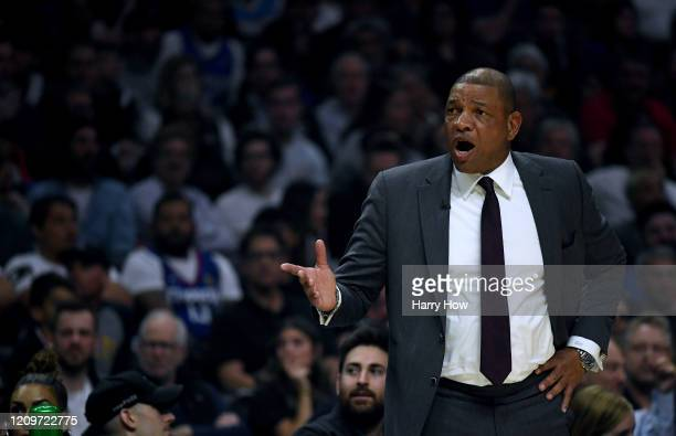 Doc Rivers of the LA Clippers argues a foul during the first half against the Denver Nuggets at Staples Center on February 28, 2020 in Los Angeles,...