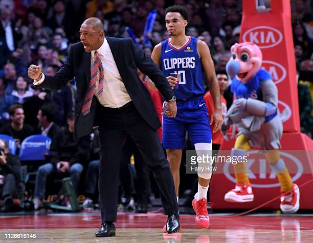 Doc Rivers of the LA Clippers celebrates a basket from Tobias Harris to tie the game 112112 with the Los Angeles Lakers during a 123120 Laker win at...