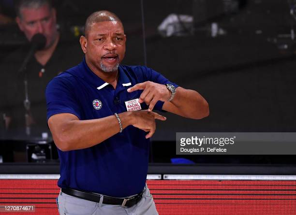 Doc Rivers of the LA Clippers during the first quarter against the Denver Nuggets in Game Two of the Western Conference Second Round during the 2020...