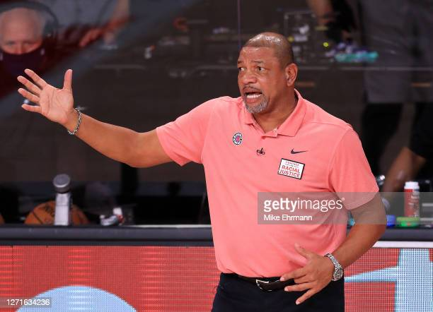 Doc Rivers of the LA Clippers during the second quarter against the Denver Nuggets in Game Four of the Western Conference Second Round during the...
