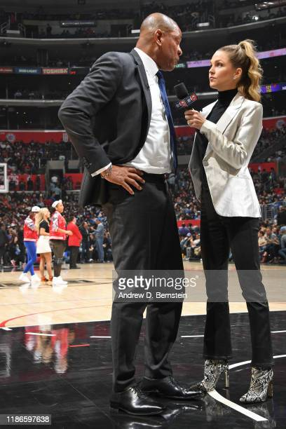 Doc Rivers of the LA Clippers gets interviewed by NBA TNT Analyst Allie LaForce during the game against the Portland Trail Blazers on December 3 2019...