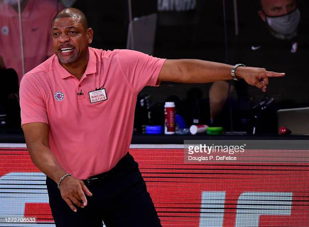 Doc Rivers of the LA Clippers reacts during the first quarter against the Denver Nuggets in Game Seven of the Western Conference Second Round during...