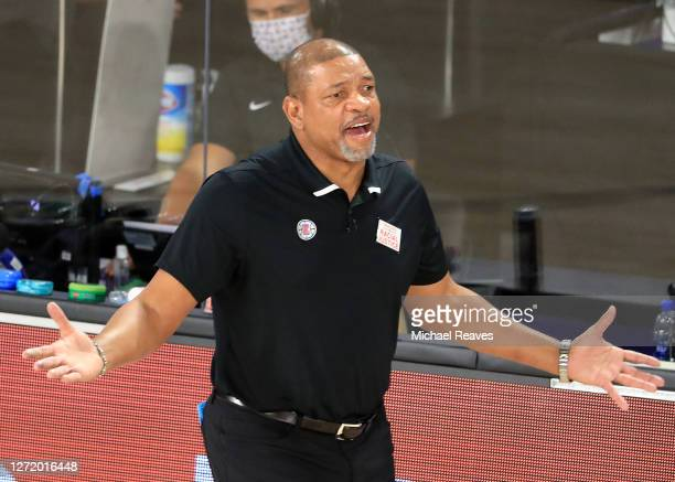 Doc Rivers of the LA Clippers reacts during the third quarter against the Denver Nuggets in Game Five of the Western Conference Second Round during...