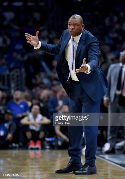 Doc Rivers of the LA Clippers reacts from the sidelines in a 129110 loss to the Golden State Warriors during Game Six of Round One of the 2019 NBA...