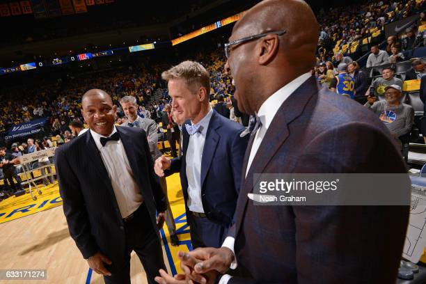 Doc Rivers of the LA Clippers talks with Steve Kerr of the Golden State Warriors before the game on January 28, 2017 at oracle Arena in Oakland,...