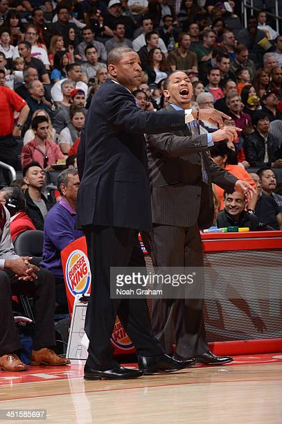 Doc Rivers of the Los Angeles Clippers and assistant coach Tyronn Lue direct their team against the Sacramento Kings at Staples Center on November 23...